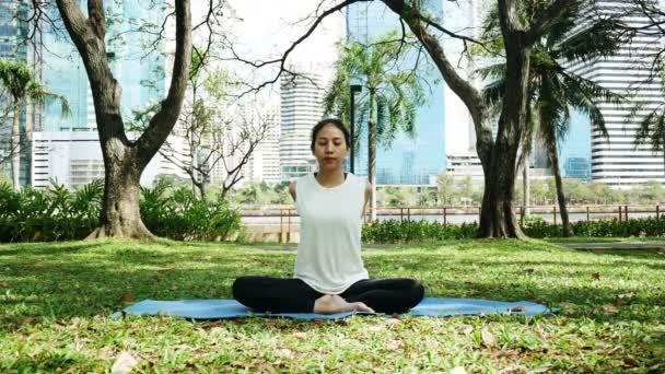 Mladá asijská žena jógu venku zachovejte klid a medituje při cvičení jógy prozkoumat vnitřní mír. Jóga a meditace mají dobrý přínos pro zdraví. Koncept jóga Sport a zdravý životní styl