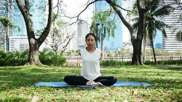 Mladá asijská žena jógu venku zachovejte klid a medituje při cvičení jógy prozkoumat vnitřní mír. Jóga a meditace mají dobrý přínos pro zdraví. Koncept jóga Sport a zdravý životní styl.