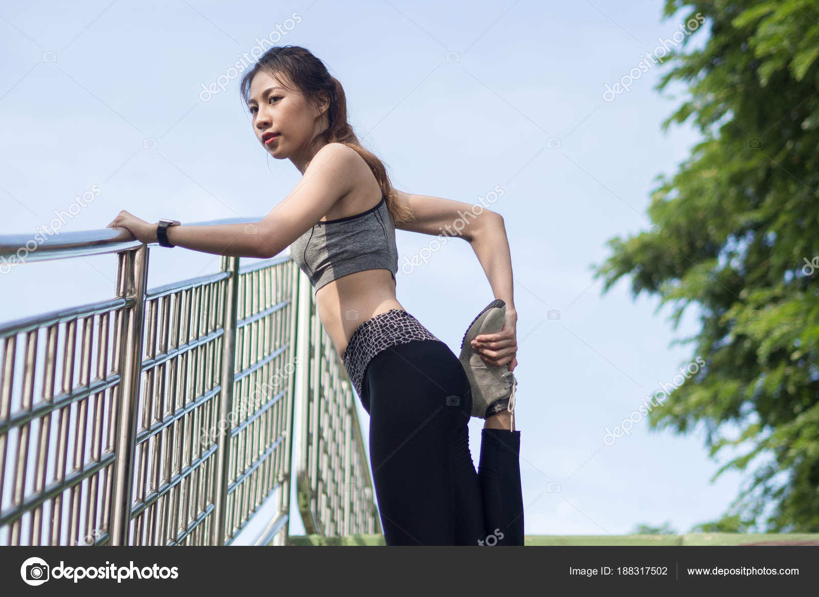 Asian lesbians exercising