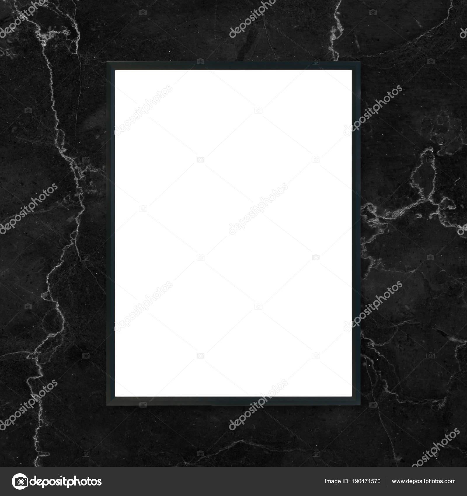 Mock-up leere Plakat Bilderrahmen hängen schwarze Marmor Wand ...