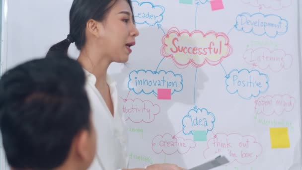 Asia businessmen and businesswomen meeting brainstorming ideas conducting business presentation project colleagues working together plan success strategy enjoy teamwork in small modern office.