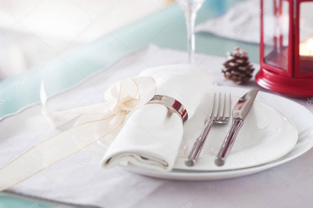 Elegant decorated Christmas table setting with modern cutlery ...