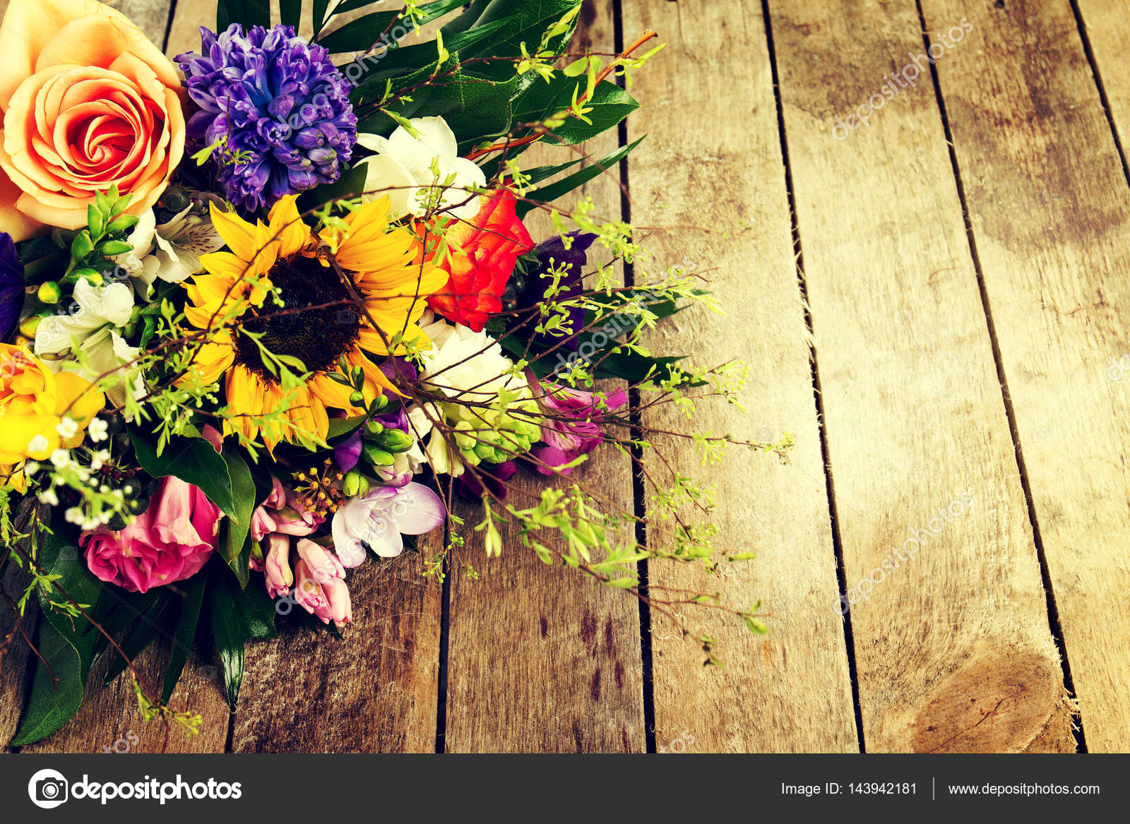 Beautiful Bunch Of Flowers On Wooden Background Horizontal Stock