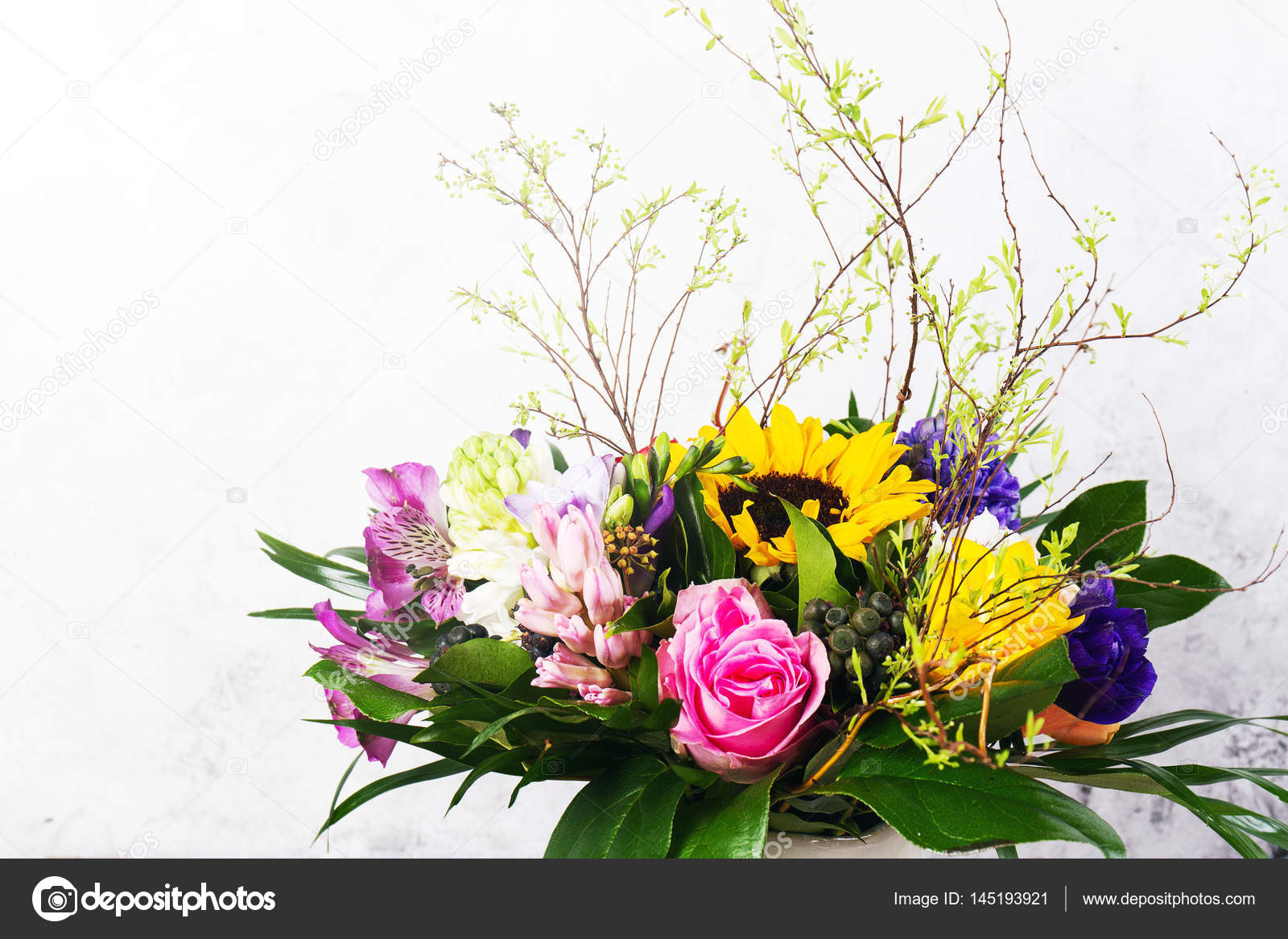 Beautiful Bunch Of Flowers With Roses On Bright Background Stock