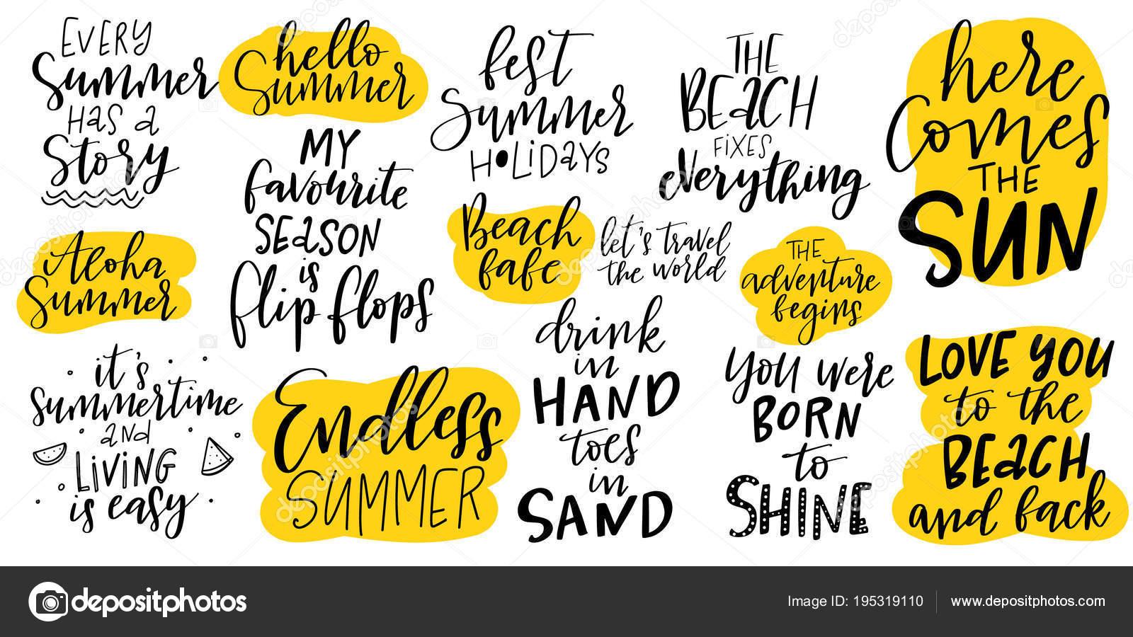 Handdrawn Inspirational Motivational Quotes Set Summer Summer