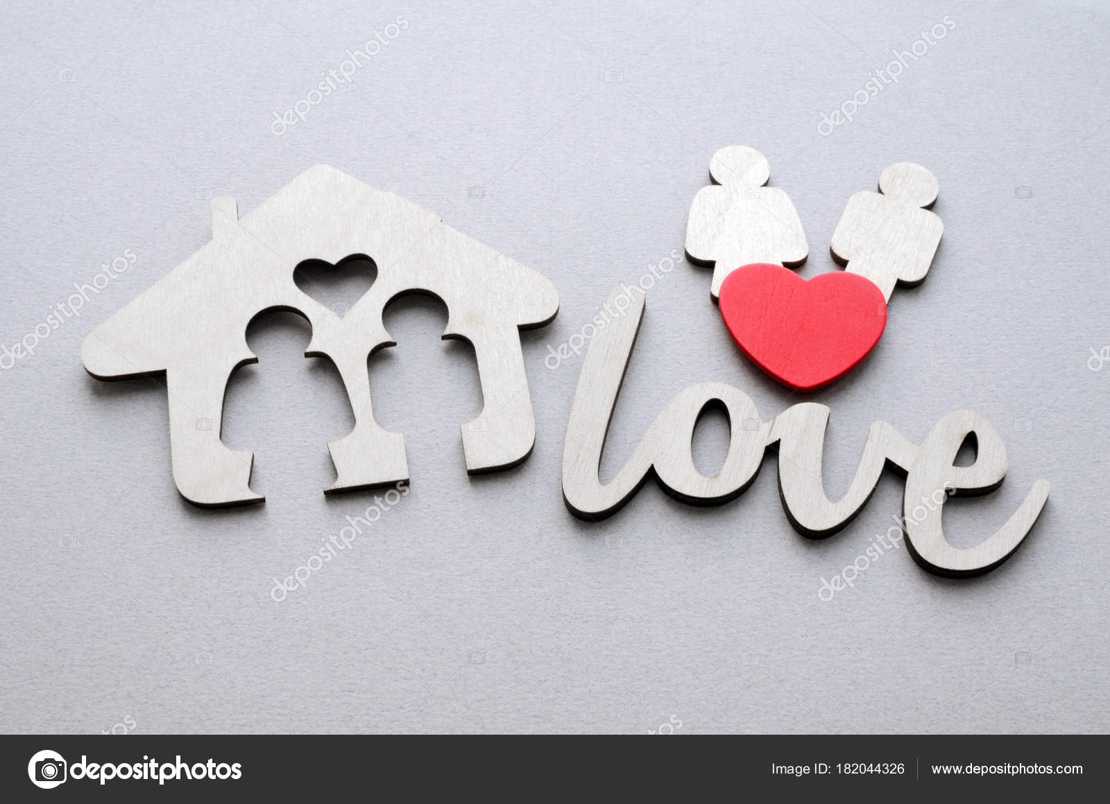 Wooden House Family Couple Red Heart Word Love Paper Background