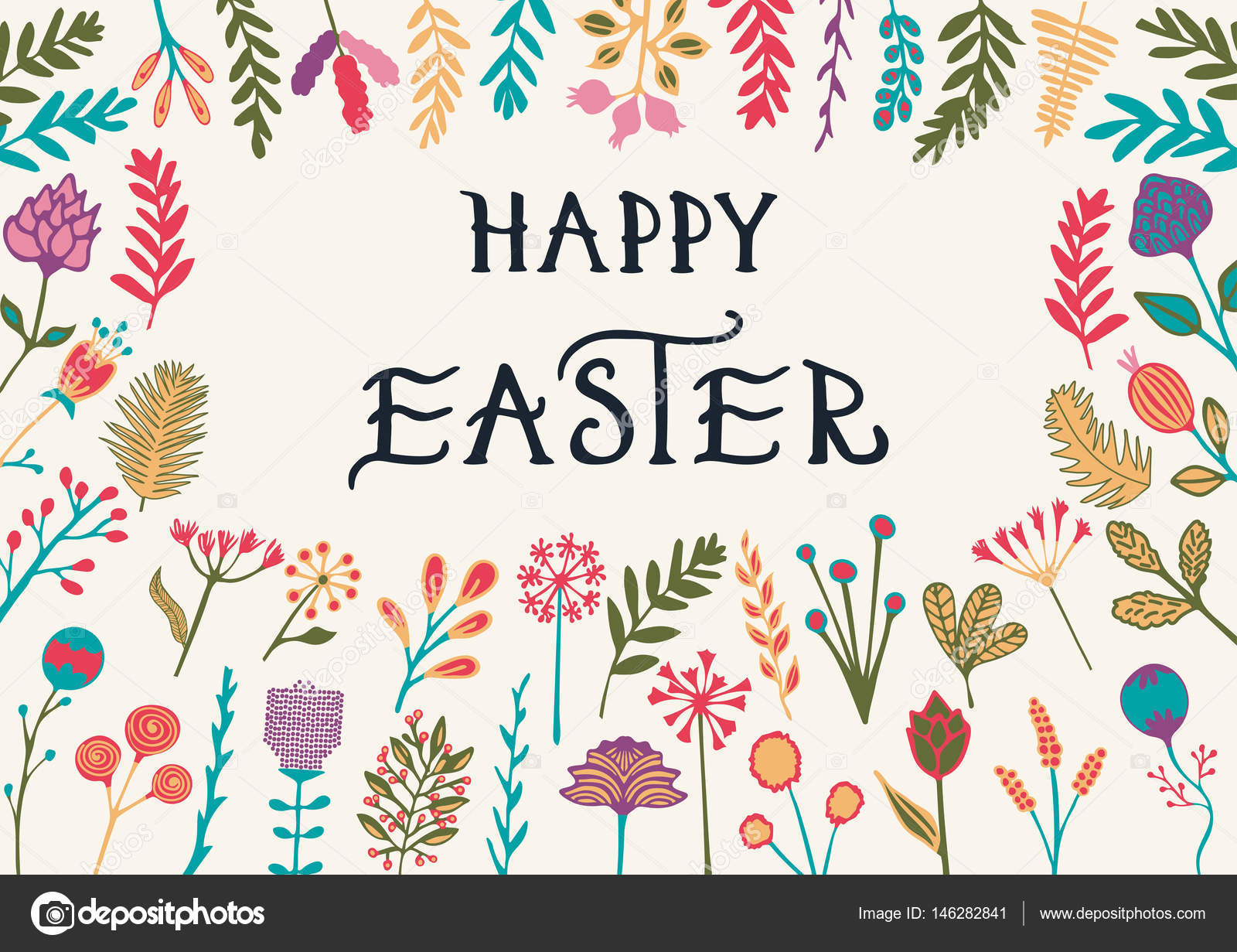 Happy Easter Greeting Card With Hand Drawn Lettering Stock Vector