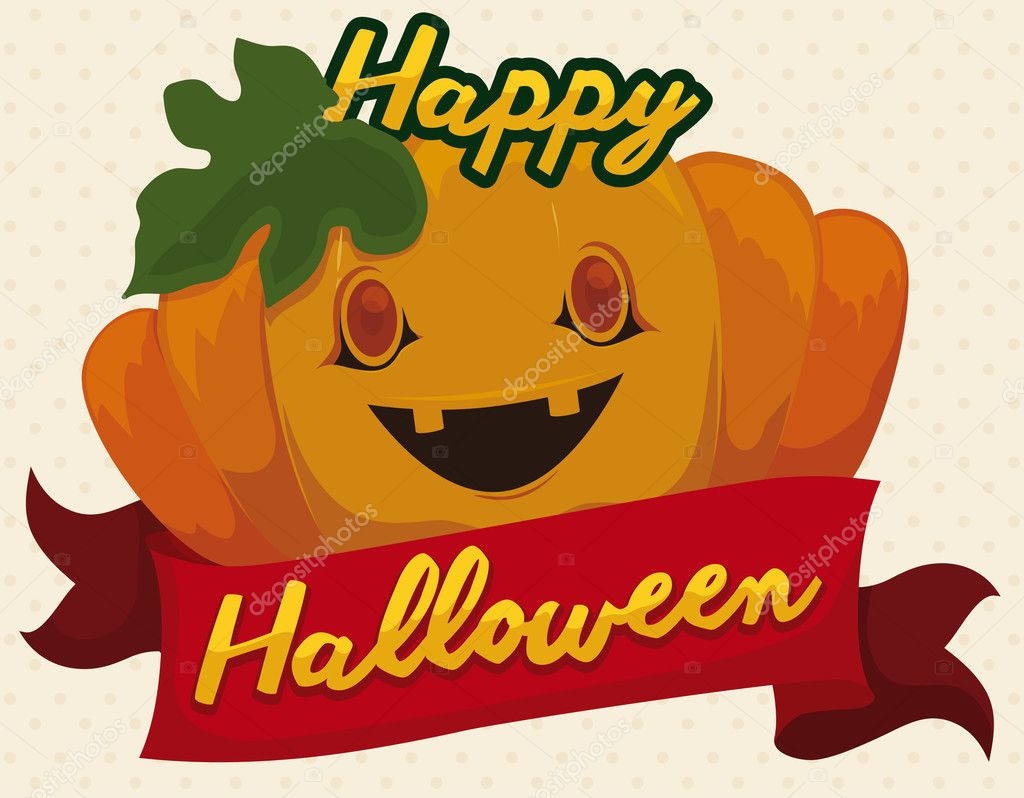 Pumpkin smiling with greeting ribbon for halloween vector poster with pumpkin smiling decorated with greeting message in a red ribbon to celebrate halloween vector by penwin m4hsunfo