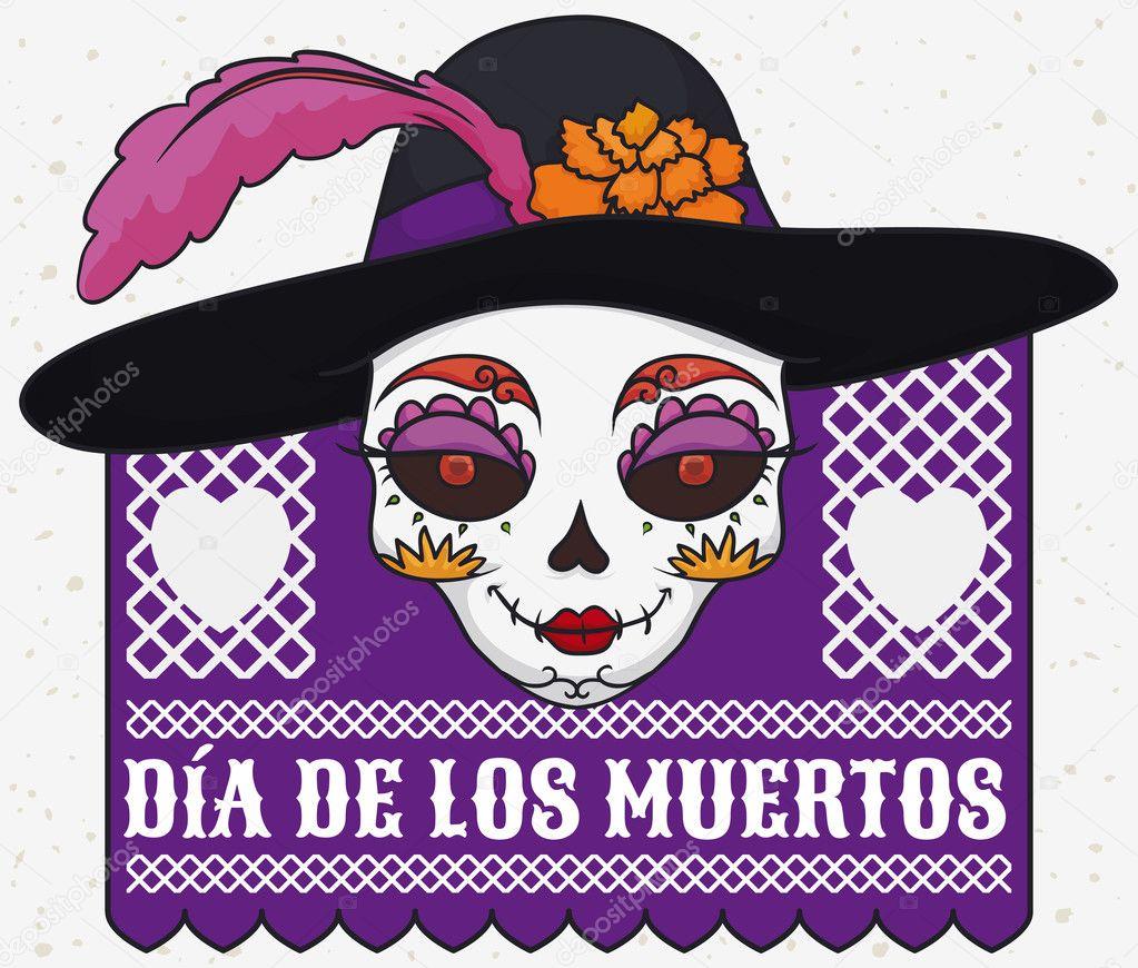 Elegante calavera Catrina con sombrero mexicano día de Muertos ... 24424d2c09c