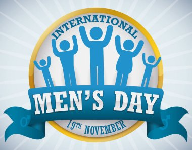 Golden Round Button with Male Pictograms Commemorating International Men's Day, Vector Illustration