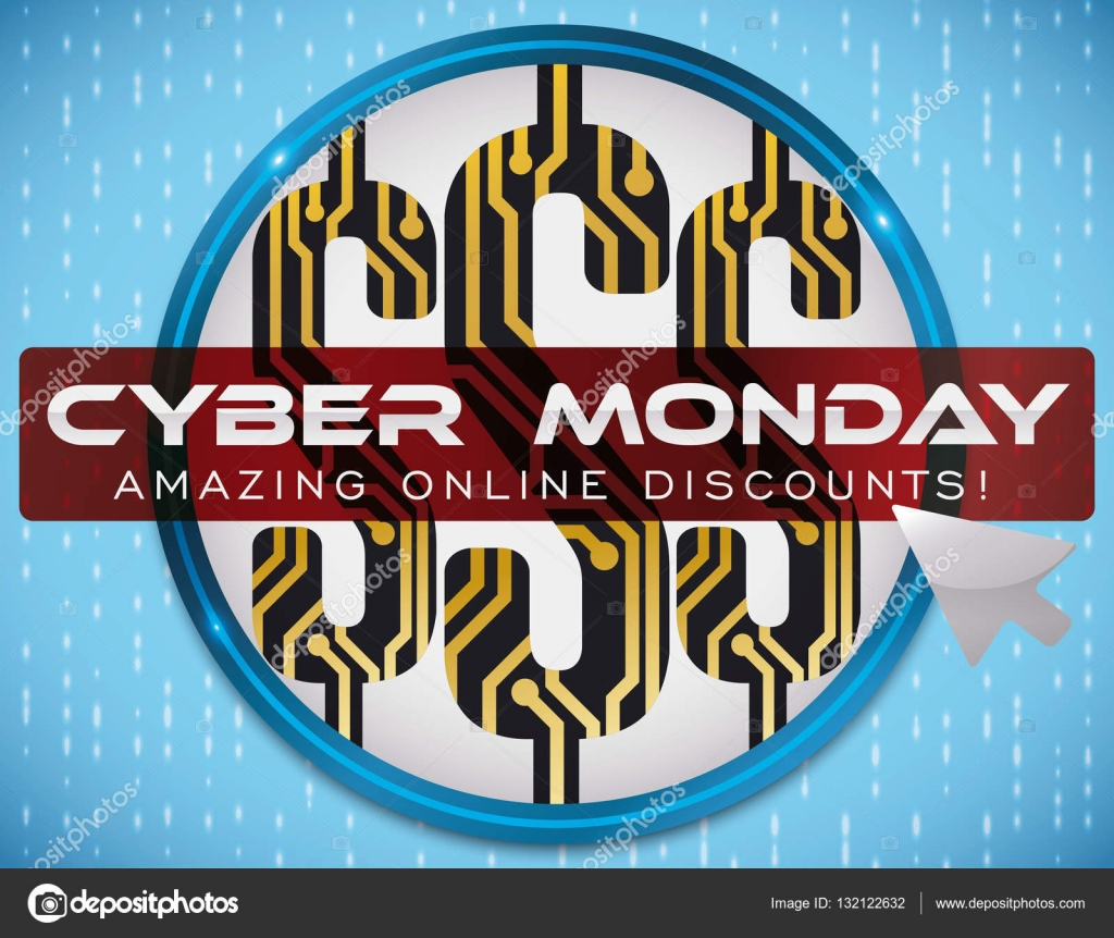 Money Symbols With Circuits Button And Pointer For Cyber Monday Design Online Vector Illustration Stock