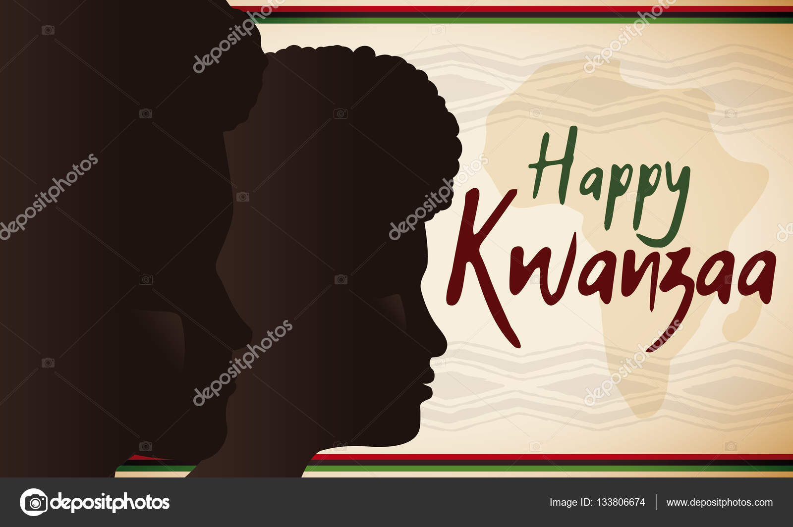 Dark skinned male and female silhouettes for kwanzaa celebration banner with dark skinned man and woman faces together an africa silhouette for kwanzaa celebration with greeting message vector by penwin m4hsunfo