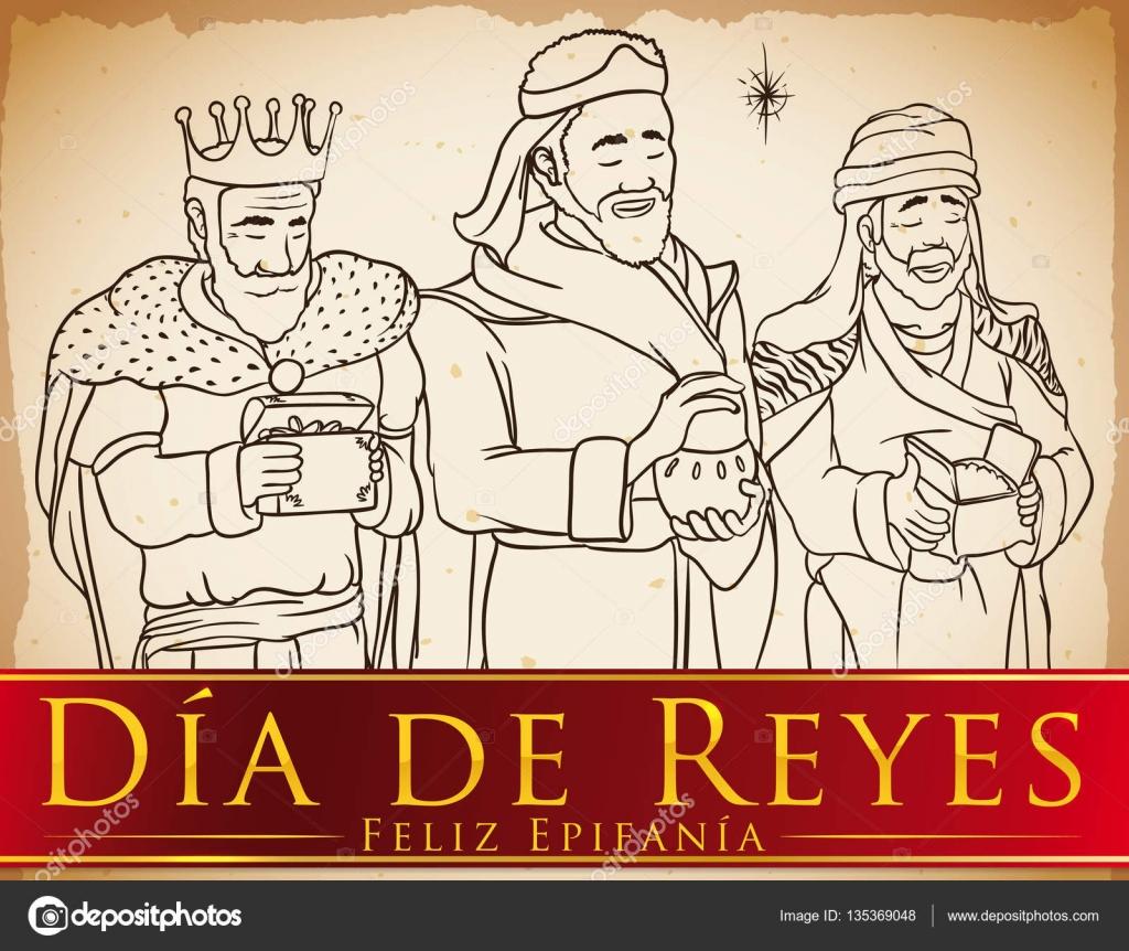 Reyes Magos en la mano dibujado estilo celebración \