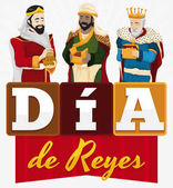 Fotografia Design festa per lo spagnolo Dia de Reyes con tre Re Magi, illustrazione vettoriale