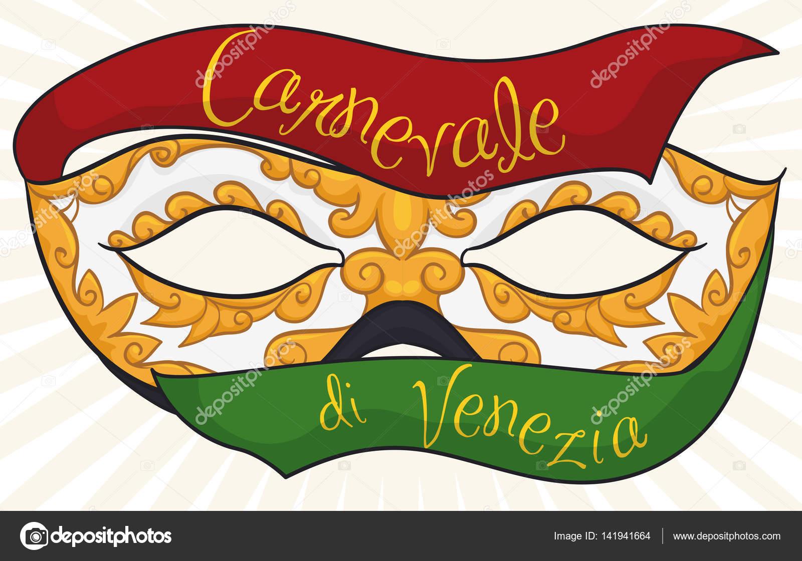 2d43d2bab ... en Italiano) con la máscara de colombina maravillosamente hecha a mano  con un patrón dorado y decorado con cintas de seda rojos y verdes — Vector  ...