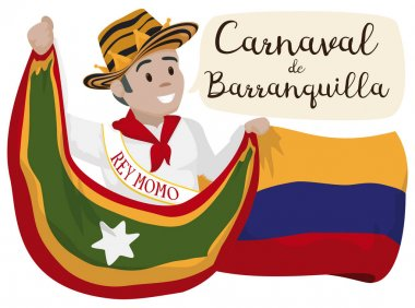 Momo King Celebrating Barranquilla's Carnival with Colombia and Barranquilla Flags, Vector Illustration