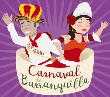 Queen and King of Barranquilla's Carnival with the Royal Proclamation, Vector Illustration