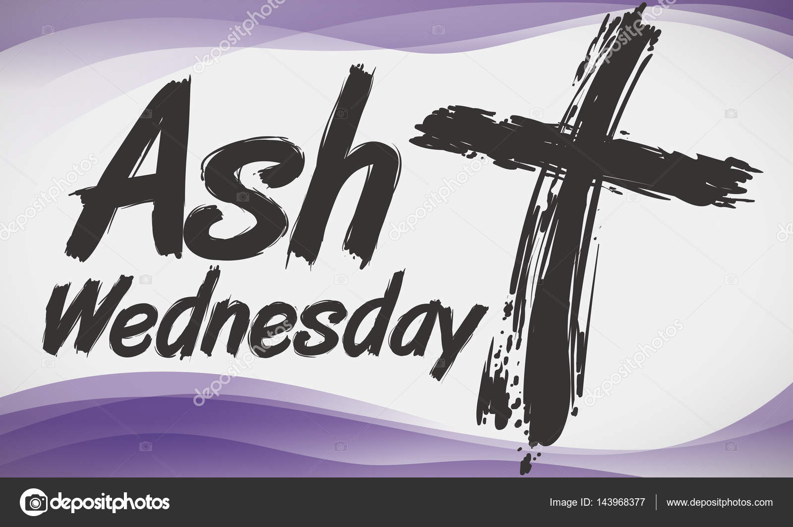 Cross in brushstroke style and purple waves commemorating ash banner with cross in brushstroke style for ash wednesday celebration and abstract purple waves in the background vector by penwin buycottarizona