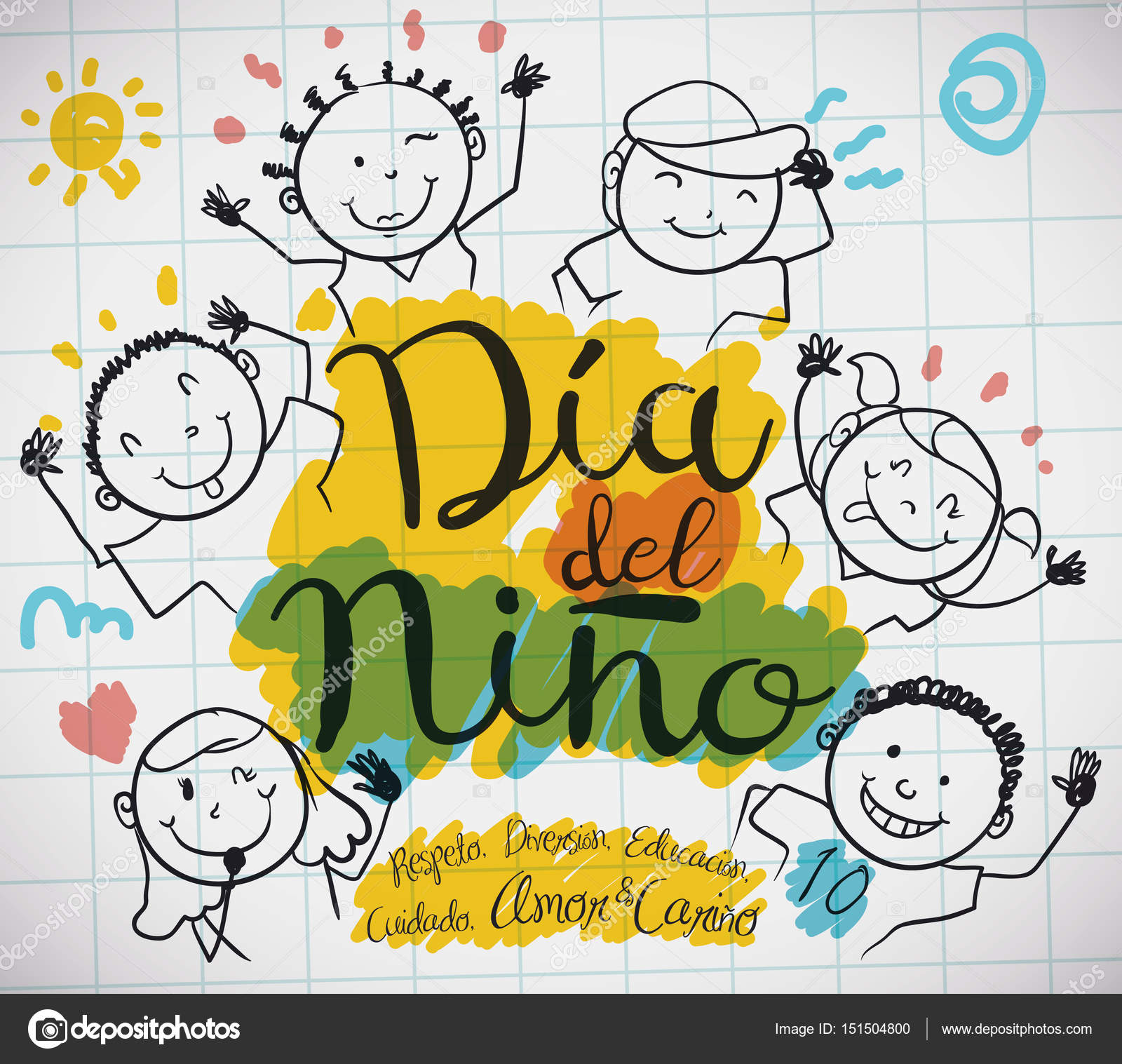 Paper Sheet with Kids Drawing for Spanish Children\'s Day, Vector ...