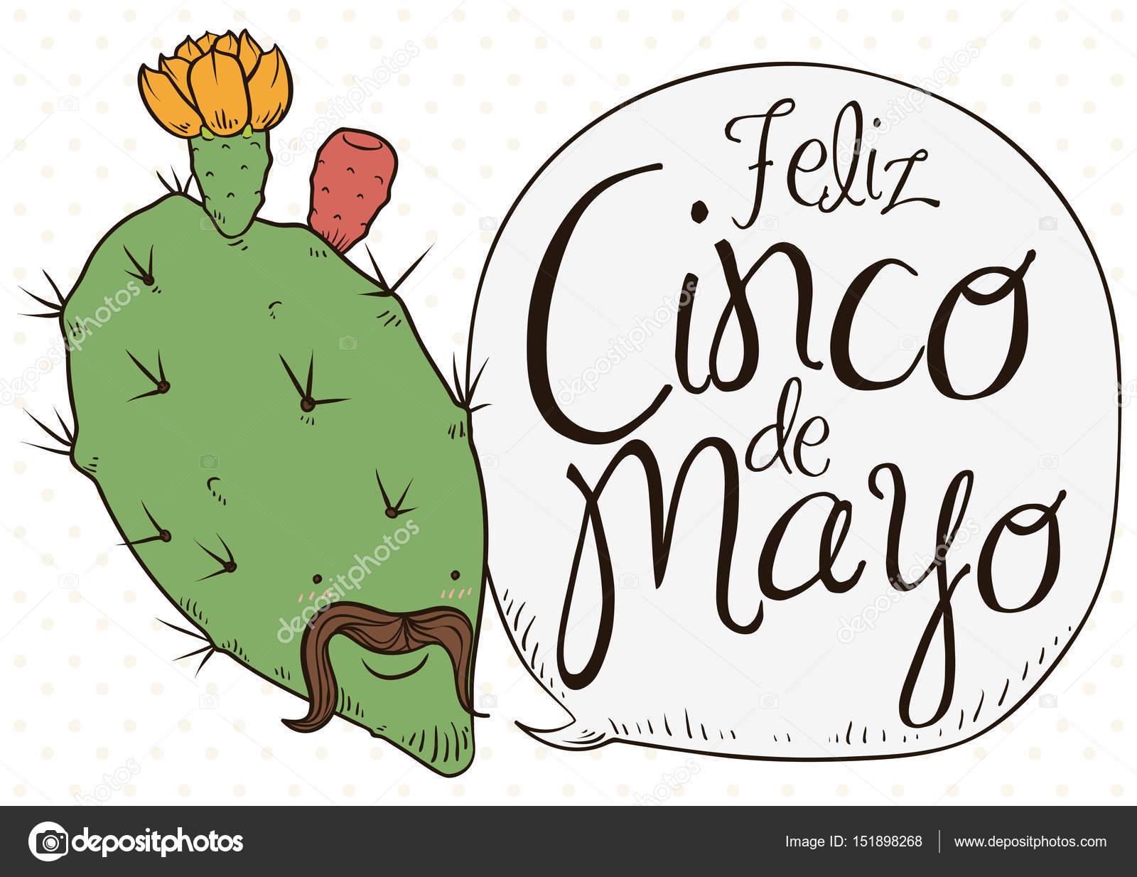 Nopal lindo floreció con Charro cara celebrando Cinco de Mayo ...