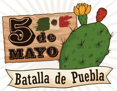 Sign with Reminder Date and Nopal for Cinco de Mayo, Vector Illustration