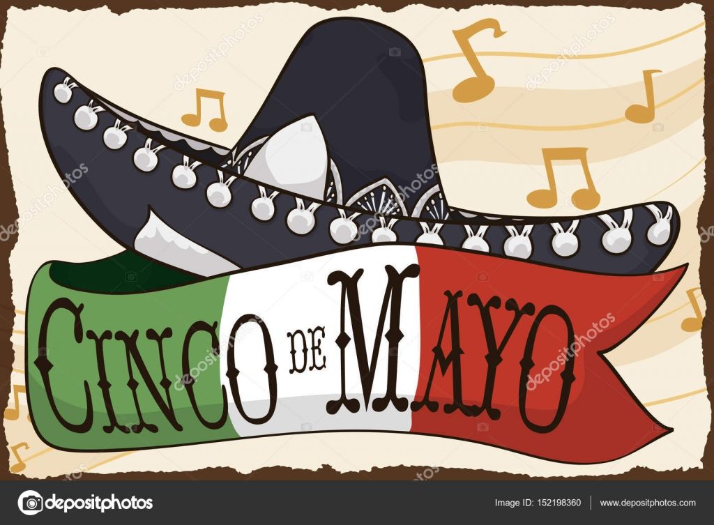 Mariachi Hat And Mexican Flag For Cinco De Mayo Celebration