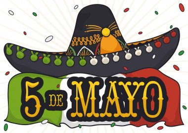 Mariachi Hat, Flag and Confetti Shower for Cinco de Mayo, Vector Illustration