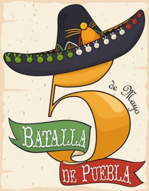 Number Five, Ribbon and Charro Hat for Cinco de Mayo, Vector Illustration