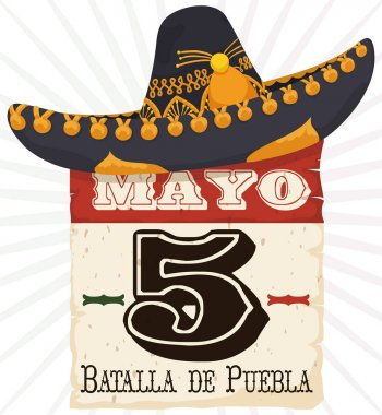 Mariachi Hat over Reminder Date for Cinco de Mayo Celebration, Vector Illustration