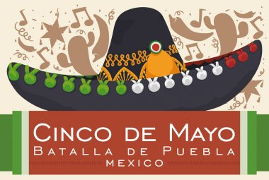 Poster with festive background silhouette and mariachi hat for Mexican celebration of Battle of Puebla in Cinco de Mayo (written in Spanish). clip art vector