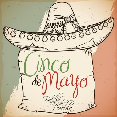 Hand Drawn Charro's Hat with Scroll for Cinco de Mayo, Vector Illustration