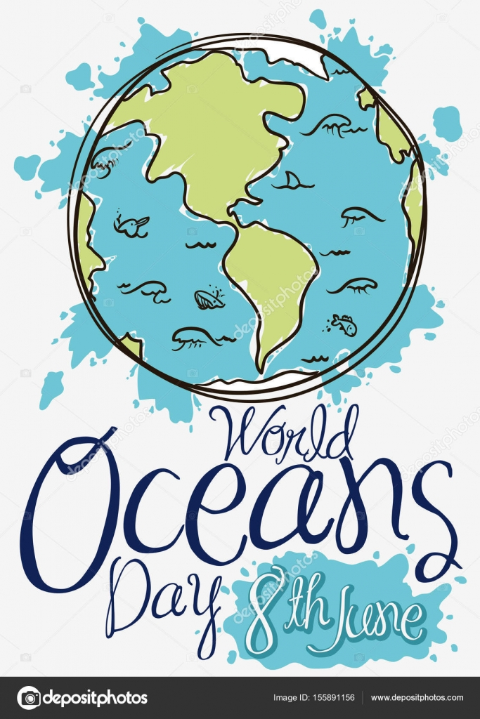 Erde mit Meeresfauna im Doodle-Stil für Ozeane Tag, Vektor ...