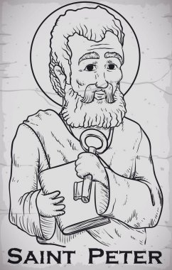 Hand Drawn Portrait of Saint Peter Image Chiseled in Stone, Vector Illustration
