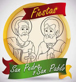 Golden Button with Saints Peter and Paul for Feast Day, Vector Illustration