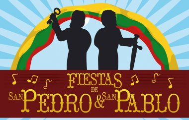 Saints Peter and Paul Silhouettes for Traditional Colombian Feast Days, Vector Illustration