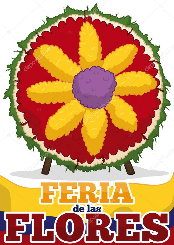 Silleta with Flower Shape for Colombian Festival of the Flowers, Vector Illustration