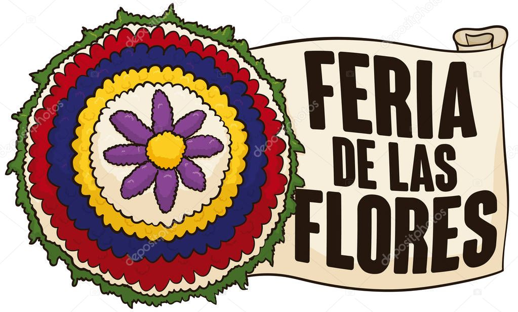 Traditional Flower Wheel and Scroll for Festival of the Flowers, Vector Illustration