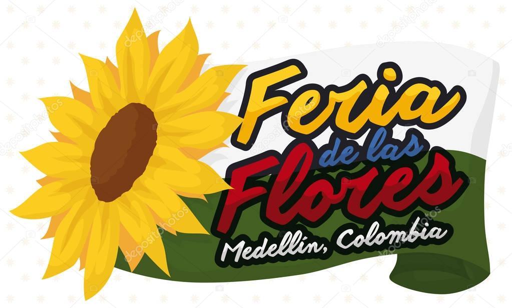Medellin Flag and Sunflower for Colombian Flower Festival, Vector Illustration