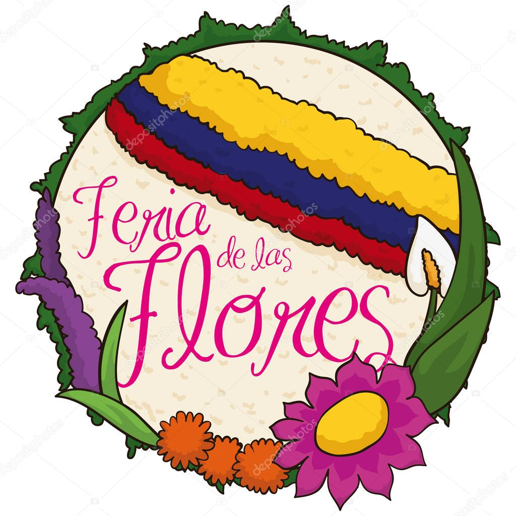 Beautiful Rounded Silleta and Flowers for Colombian Flowers Festival, Vector Illustration