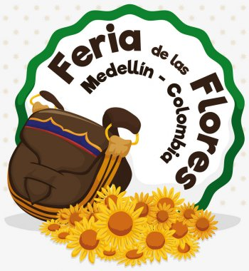 Colombian Traditional Carriel Bag and Daisies for Flowers Festival, Vector Illustration