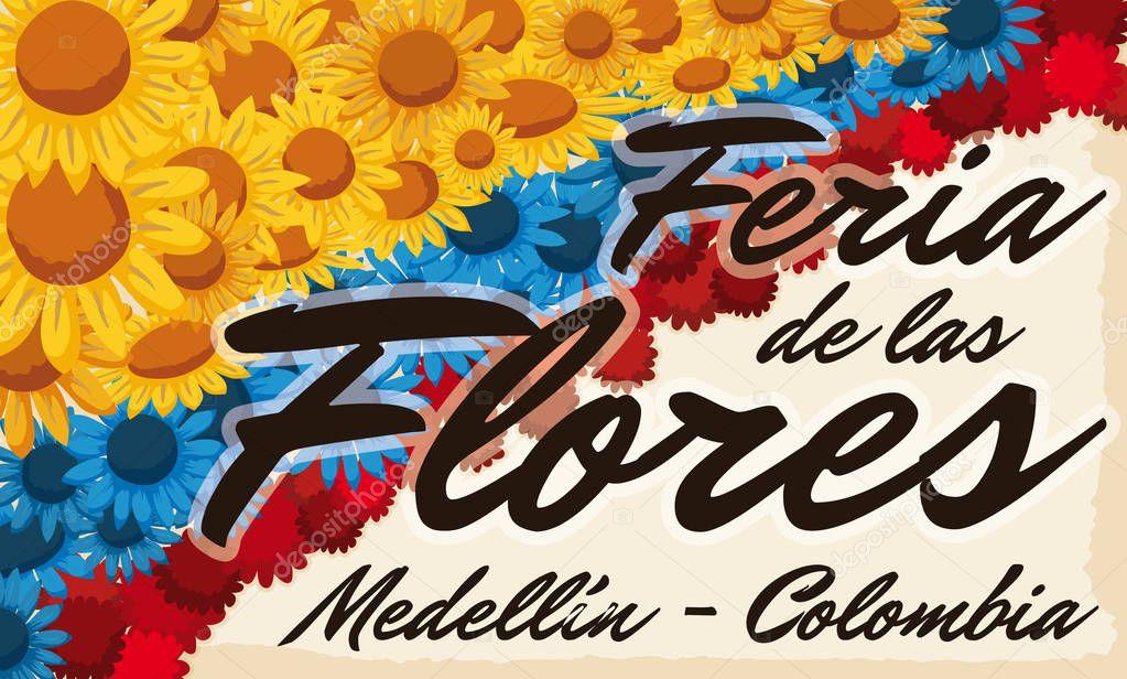 Floral Arrangement like Colombian flag over Scroll for Flowers Festival, Vector Illustration