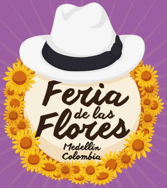 Traditional Straw Arriero Hat with Daisies for Colombian Flowers Festival, Vector Illustration