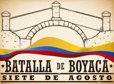 Hand Drawn Boyaca's Bridge and Colombian Flag for Boyaca's Battle, Vector Illustration