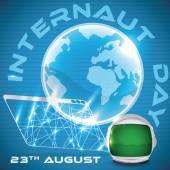 Böngésző a világon, és űrhajós sisak kiálló Internaut nap, vektoros illusztráció