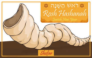 Traditional Horn or Shofar for Jewish New Year Celebration, Vector Illustration