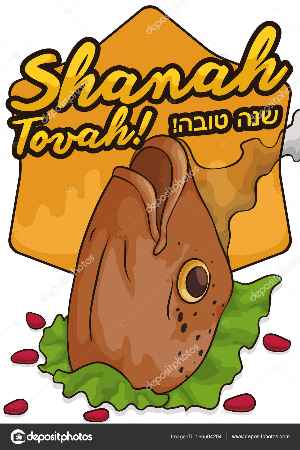 Fish head pomegranate seeds and greetings for jewish new year delicious fried fish head served with lettuce some pomegranate seeds good wishes and greetings shanah tovah written in hebrew for jewish new year or m4hsunfo