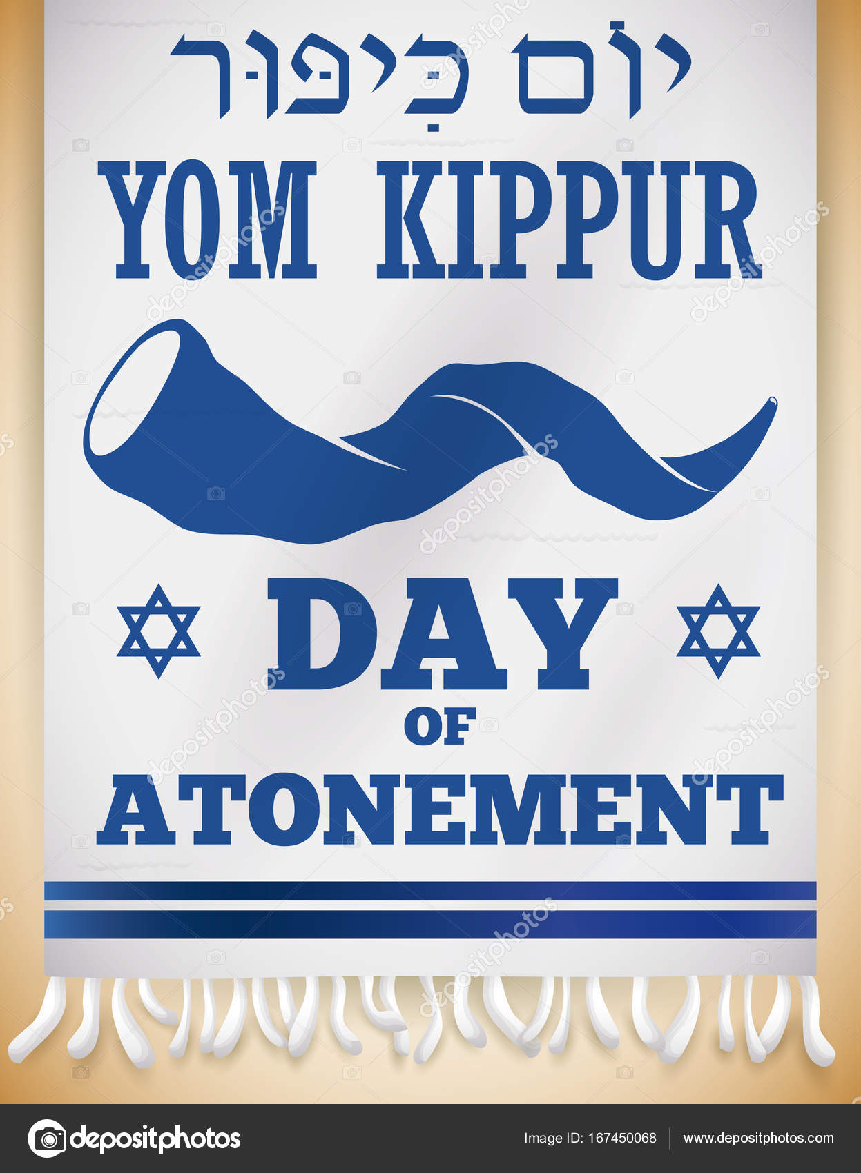 Shofar horn silhouette and greeting for yom kippur in tallit vector banner with shofar horn silhouette greeting text and calligraphy for yom kippur or day of atonement written in hebrew over a white tallit m4hsunfo