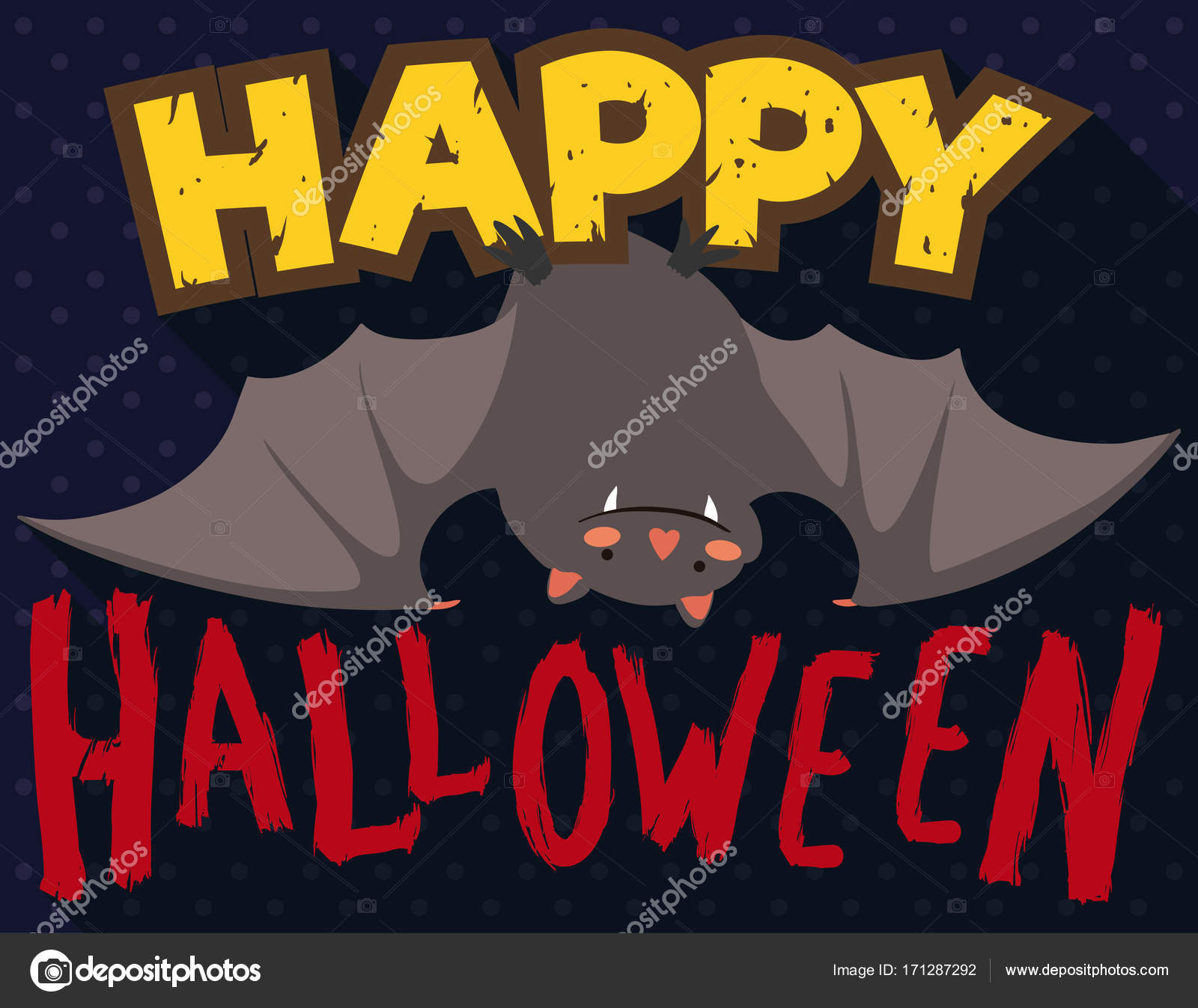Cute Hanged Bat With Greeting For Halloween Vector Illustration