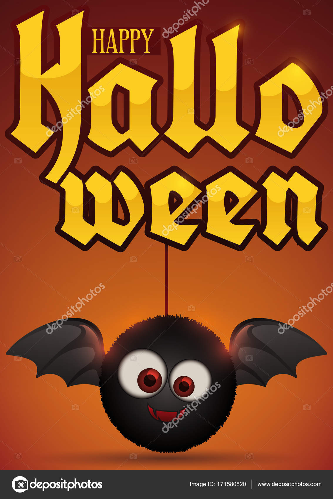 Cute furry bat toy holding of golden sign for halloween vector poster with a cute furry bat toy holding a golden greeting message for a happy halloween celebration vector by penwin m4hsunfo