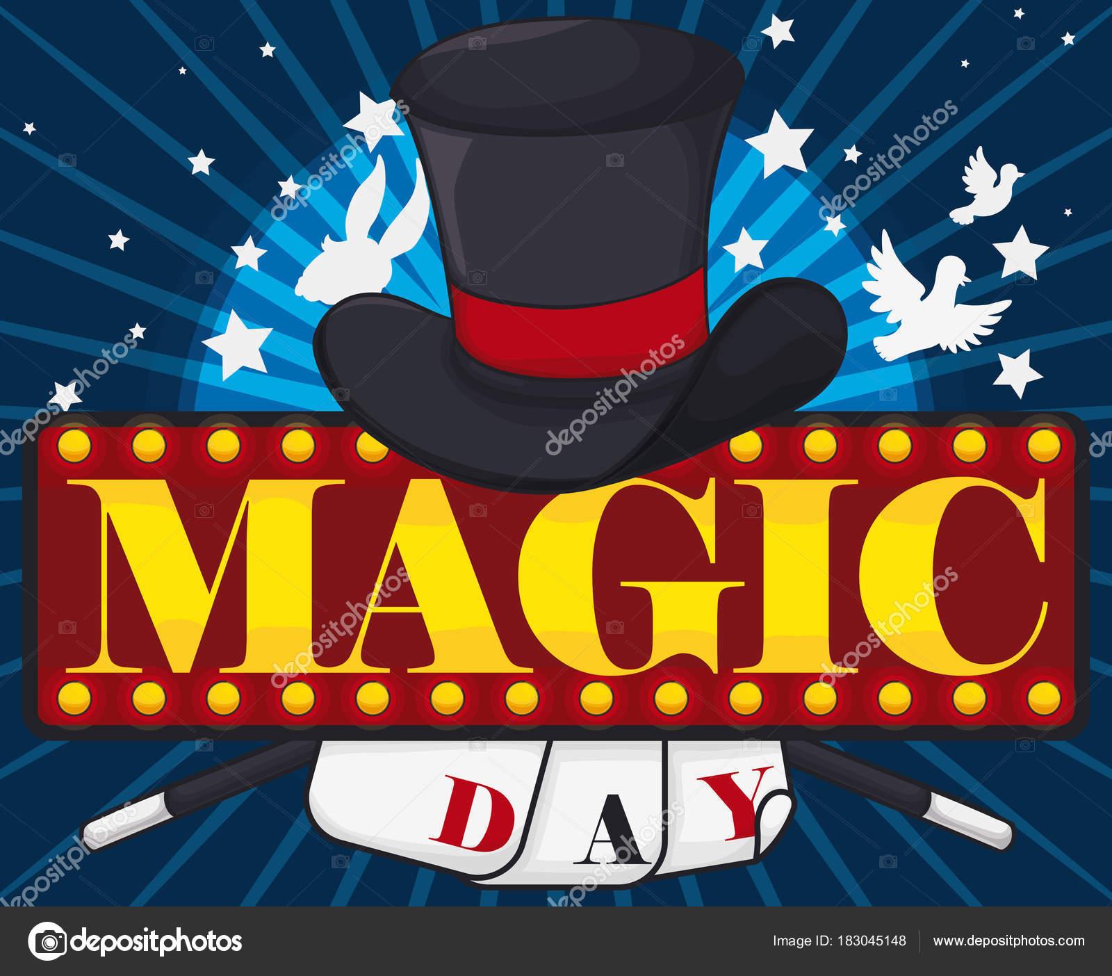 Cartel anunciando el día de la magia con un sombrero de mago 4cc55e5cca1